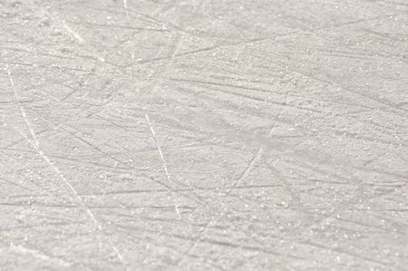 macro photography: Skate marks on the ice surface of an ice rink Stock Photo