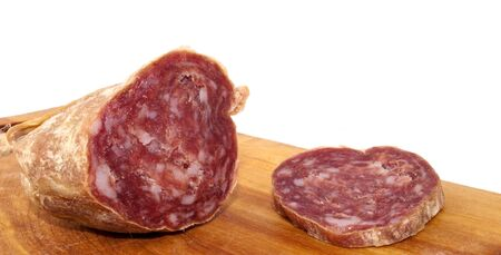 trencher: Closeup of italian typical salami and slice on wood trencher