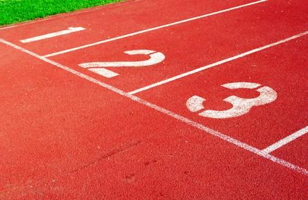 Running track starting line Archivio Fotografico