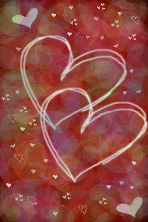 Valentine's day hearts on red fantasy background Stock Photo - 8504851