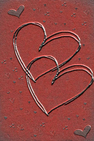 Valentine's day hearts on red fantasy background Stock Photo - 8504852