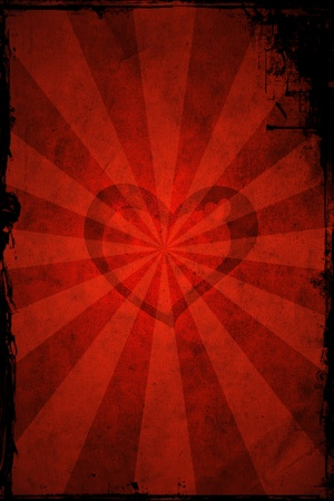 Valentine's day heart with sun rays on red grunge background Stock Photo - 8589722