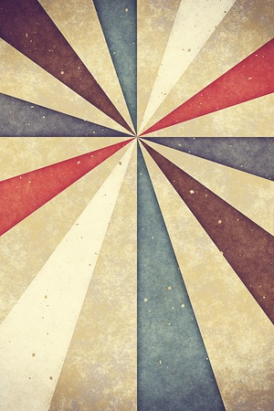 sixties: Vintage old paper sheet with sunburst Stock Photo