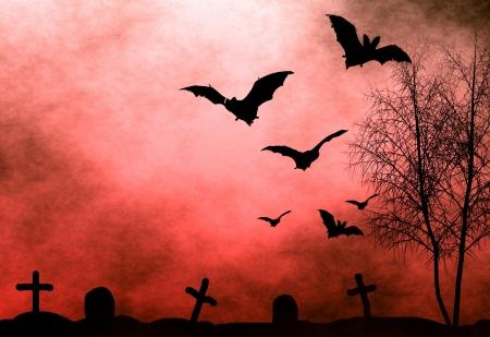 Halloween background. Bloody foggy night at graveyard with bats flying Standard-Bild