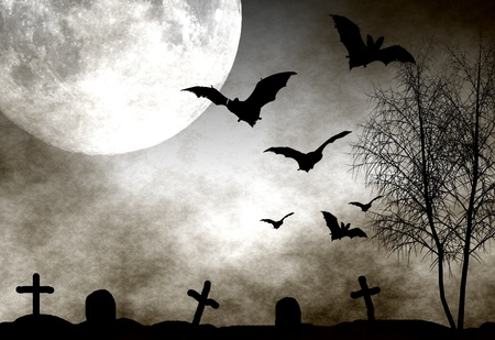 Spooky graveyard scene with bats flying in the moonlight. Perfect as halloween background