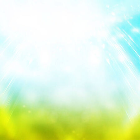 Beautiful summer easter background with beautiful green grass and blue sky colors and sun light photo
