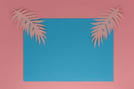 Exotic summer palm frame for invitation, card, banner and voucher.