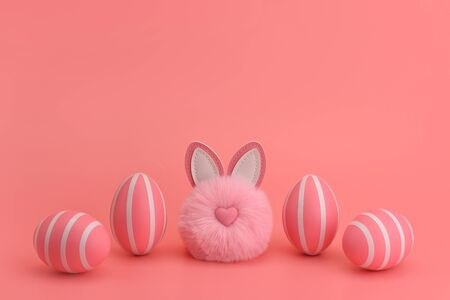 Fluffy round pink easter bunny in a row with pink striped eggs. Pink monochrome concept. Objects are isolated on a pink background. Top place for text. Copy space. Childrens easter card.