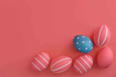 Eggs for Easter Arrangement on pink. Set of pink eggs with stripes around a blue one in circles in a corner of frame. Colourful Easter concept. White Stripes. Copy space, top view, flat lay.