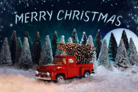 Merry Christmas toys getting card. A red toy pick-up truck in a snowy spruce forest is driving a Christmas tree home. There is a large moon and northern lights in the night sky.