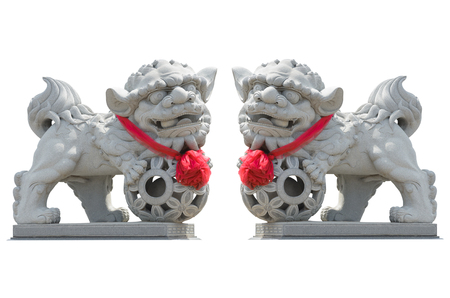 Chinese Imperial lion Statue,Isolated on white background, Also call gardian lion.
