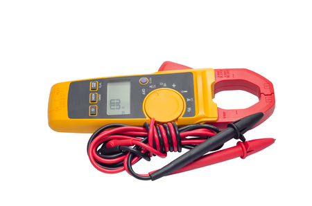 safty: Digital volt meter for Engineering Electrician at work. Stock Photo