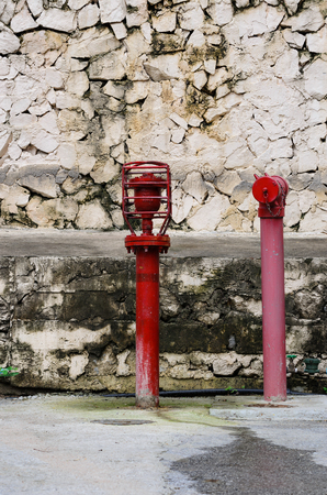 safty: Hydrant with water hoses and water fire exthinguish equipment. Stock Photo