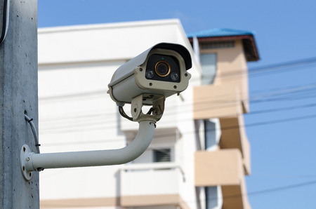 Royalty free picture CCTV security cam. Wide angle and little depth of field.