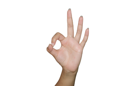 all right: Human hand gesture isolated. all right. OK sign. Stock Photo