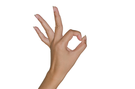 all ok: Human hand gesture isolated. all right. OK sign. Stock Photo