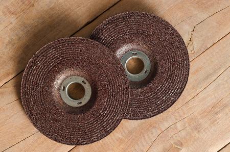 tool and die: Brown color  Blade grinder metal saw disk. Stock Photo