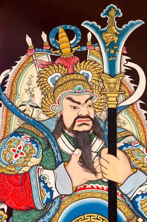 worshipped: Photo taken on : Chonburi, Thailand - December 21, 2015 : Guan yu, also known as guan gong or guan yunchang, is popularly worshipped today among the Chinese community around the world as an indigenous Chinese deity, a bodhisattva in Buddhism and a guardia Editorial