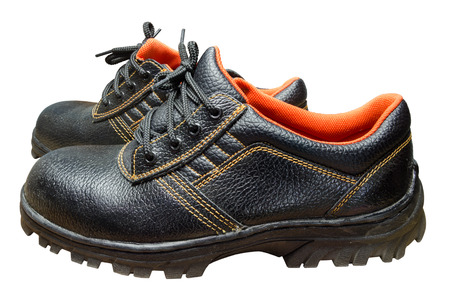 steel toe boots: Black Steel Toe Safety of steel cap work boots on white blackground.