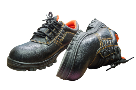 safety boots: Black steel toe safety of steel cap work boots on white blackground.