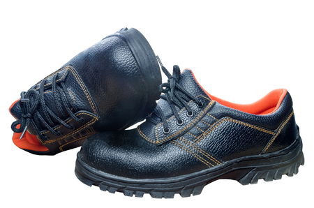 work boots: Black steel toe safety of steel cap work boots on white blackground.