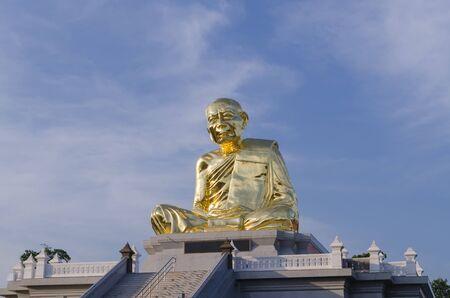 large build: Big buddha statue in wat  Lahan Rai, Rayong, Thailand. Stock Photo