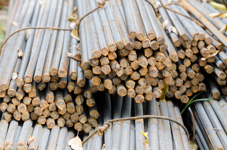 impenetrable: Steel rods or bars used to reinforce concrete. Stock Photo