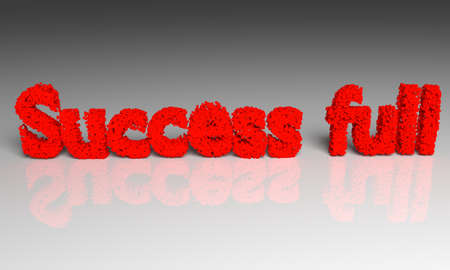 ful: Red Success ful text. 3d  on gray background. Stock Photo