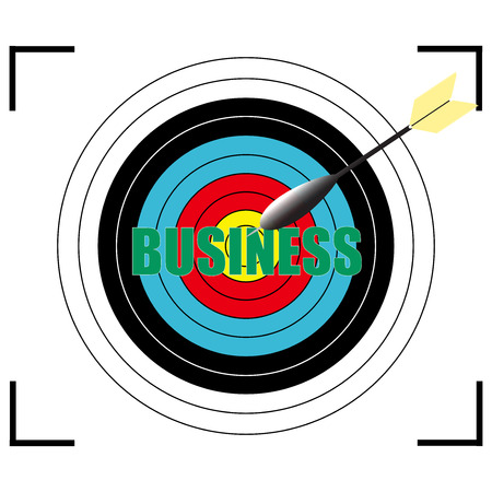 Business word Vector, business concept target for archery.