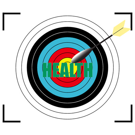 losing memories: Health word Vector, business concept target for archery.