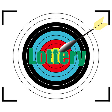 hopeful: Lottery word Vector, business concept target for archery.