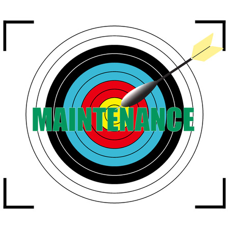 overseeing: MAINTENANCE word Vector, business concept target for archery.