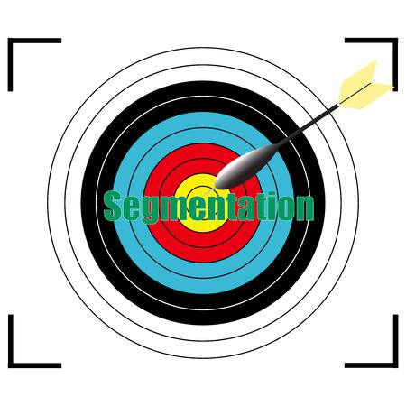 relationsip: Segmentation word Vector, business concept target for archery. Illustration