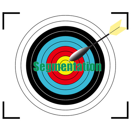 Segmentation word Vector, business concept target for archery. Illustration