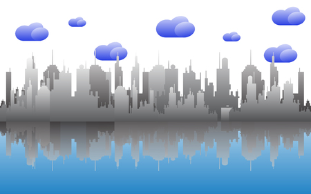 cloudy day: Cityscape skyline on cloudy day.