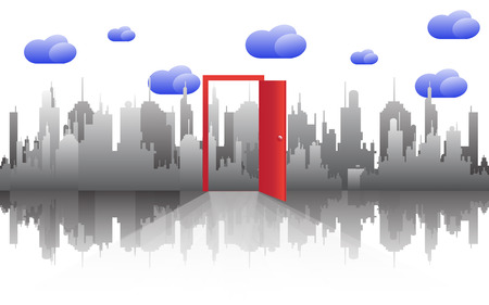 cloudy day: Door with cityscape skyline on cloudy day. Illustration