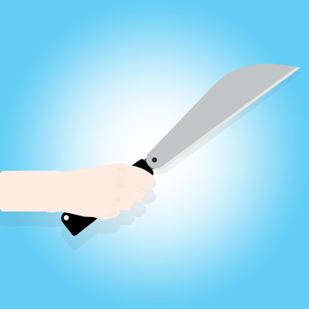 Man holding a knife in hand. Vector illustration flat design. Isolated on background. Steel arms.