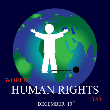 10th: International Human Rights Day. December 10th conceptual idea showing participation in social, economic, politic areas.
