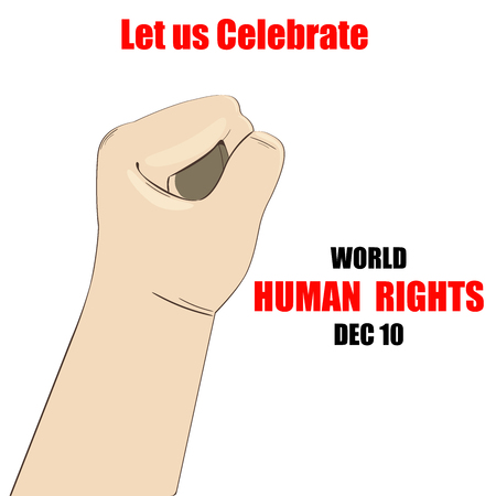 participation: International Human Rights Day. December 10th conceptual idea showing participation in social, economic, politic areas.