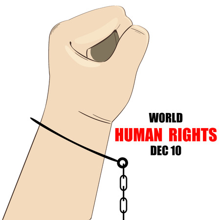 International Human Rights Day. December 10th conceptual idea showing participation in social, economic, politic areas.