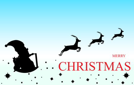 postcard box: Vector Illustration of Christmas card with Santa Claus Driving in a Sledge.