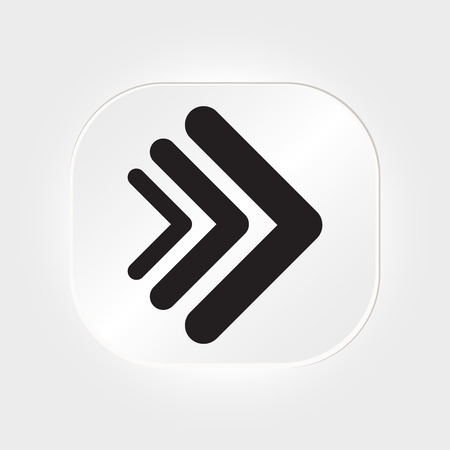 application sign: Arrow vector 3d button icon set white color on grey background. interface line symbol for app, web and music digital illustration design. Application sign element collection.