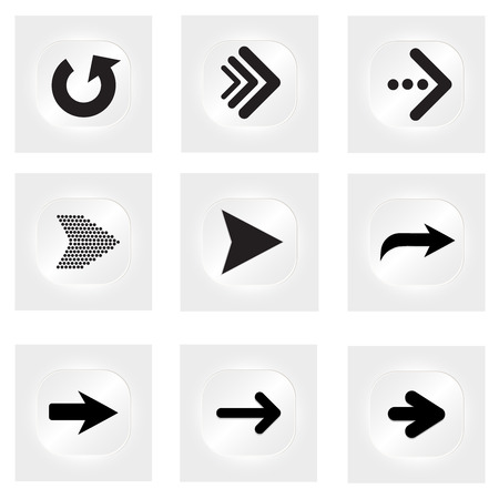 application sign: Arrow vector button icon set white color on grey background. interface line symbol for app, web and music digital illustration design. Application sign element collection.