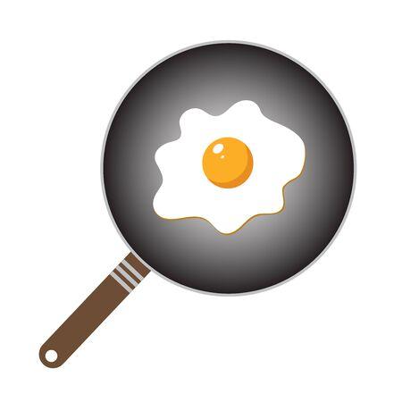 scrambled: Fried egg closeup. Scrambled egg. Egg breakfast. Fried egg in cartoon style.