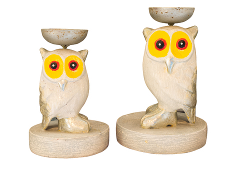 animal figurines: Statuette of a cute owl on a white background.