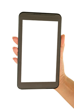 Hand holding a Tablet mobile with white screen on a white background.