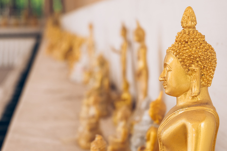 public domain: Golden Buddha statue in Buddhist temple or wat, is public domain or treasure of Buddhism.