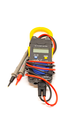 Electric  digital multimeter. Clamp digital meter on the white background
