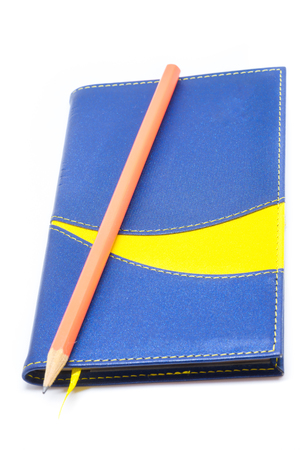 Blue leather notebook isolated on white background.