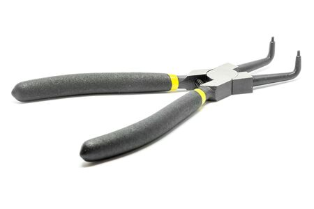Black open and handled pliers  on a white background.Tools series. Stock Photo